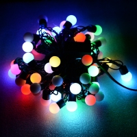 Novelty Outdoor Lighting LED Ball String Lamps Black Wire Christmas Lights Fairy Wedding Garden Pendant Garland