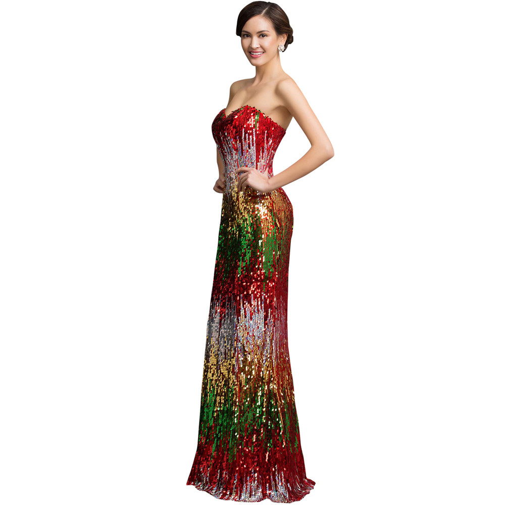 Sweetheart Colorful Sequins Lace Evening Dress 16