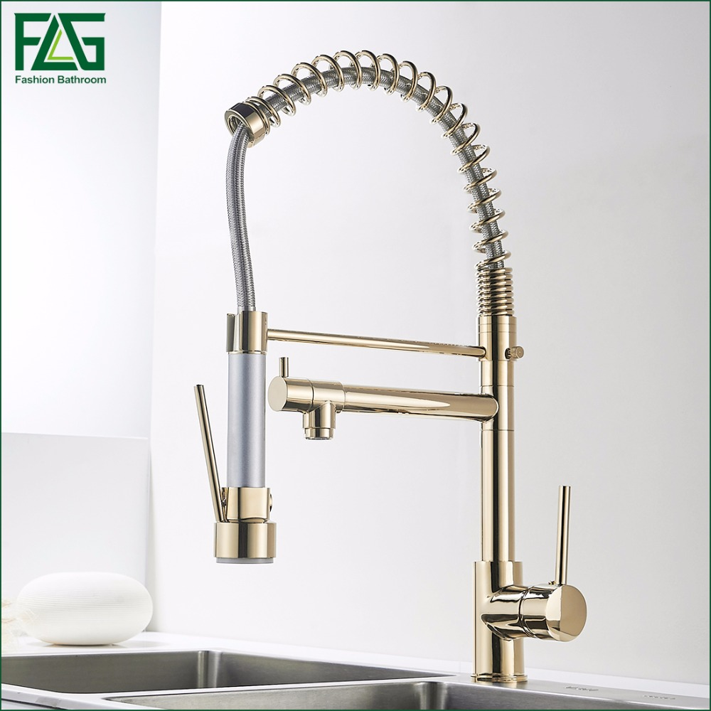 FLG Kitchen Faucet Golden Finish Hand Sprayer Spring Style Single Handle 360 Degree Rotating Cold Hot Water Mixer Sink Tap 2087G micoe hot and cold water basin faucet mixer single handle single hole modern style chrome tap square multi function m hc203