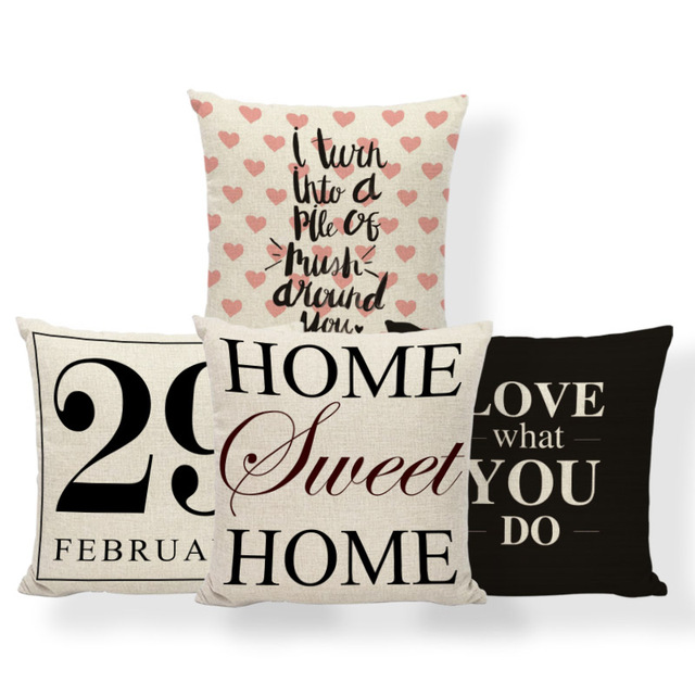 US $2.99 19% OFF|Love Sentence Word Cushions Paris Valentine\'S Day Pillow  Covers Cartoon Beauty Chair Houseware Throw Pillow Large Cotton Blend-in ...