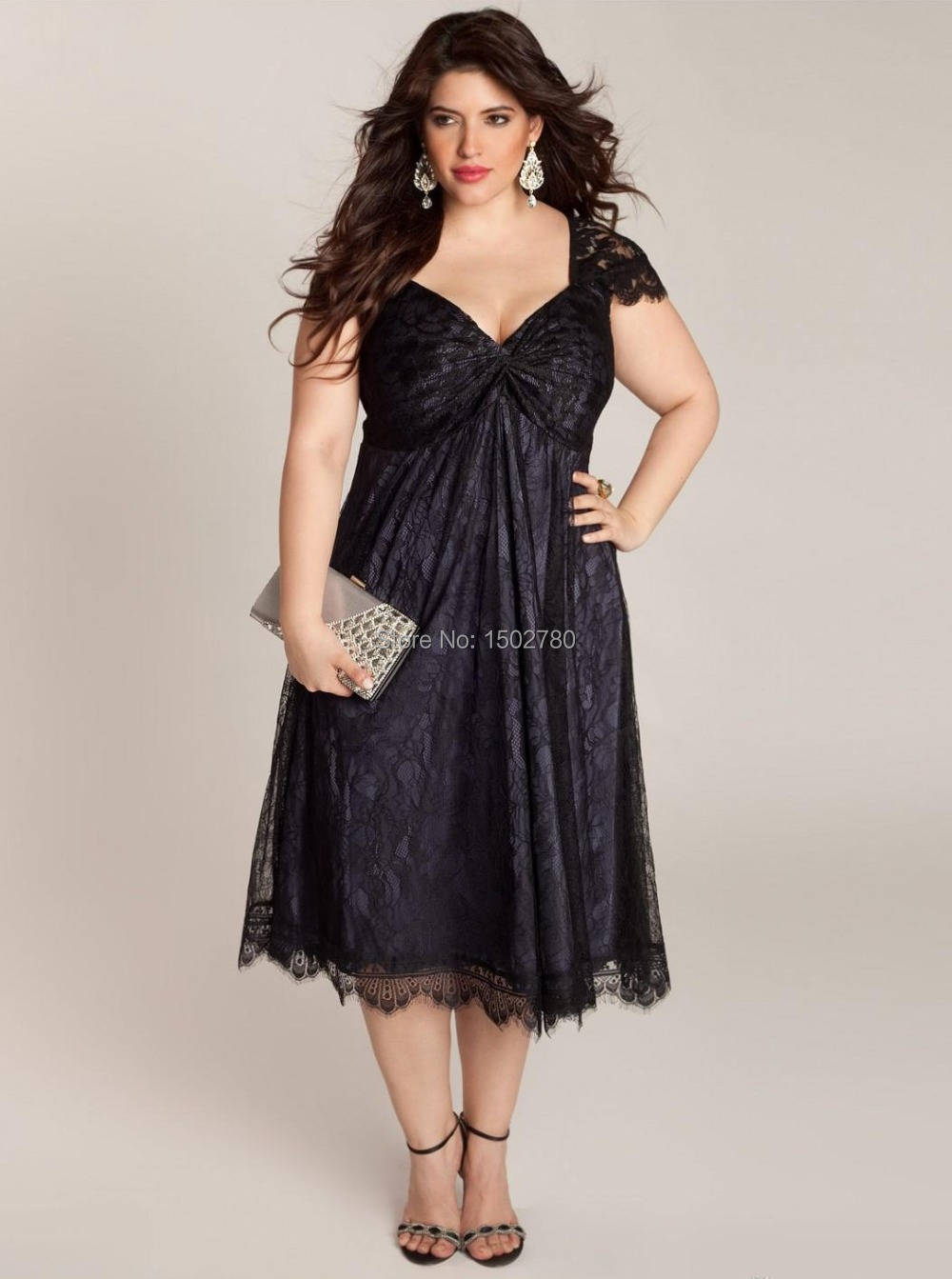 Black Plus Size New Years Eve Dresses Cap Sleeve Ruched Lace Mother ...