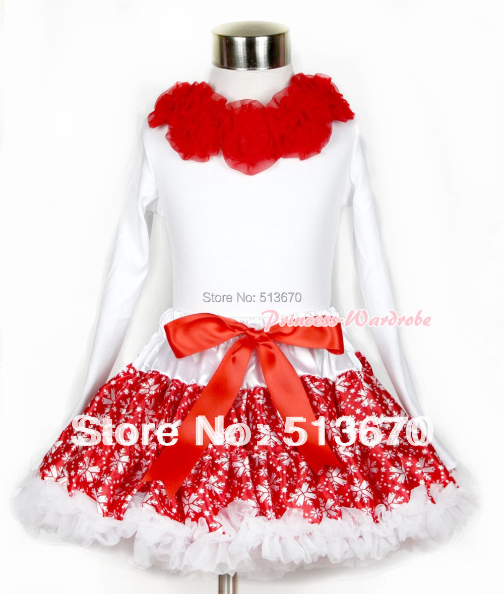 Xmas Red Snowflakes Pettiskirt Matching White Long Sleeve Top With Red Rosettes MAMW251 xmas red white pettiskirt with christmas gingerbread snowman print white long sleeve top with red lacing mamw402