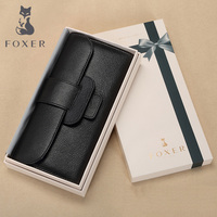Foxer Brand Genuine leather Women Wallet hight quality Women Long Wallets Lady Coin Purse Female wallets & purses