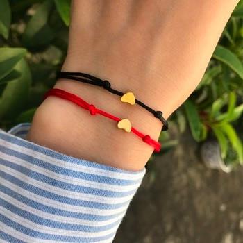 KEJIALAI Gold Color Heart Bracelet Silver Handmade Jewelry Multicolor Rope Adjustable String Lucky Bracelet For Women Children 5