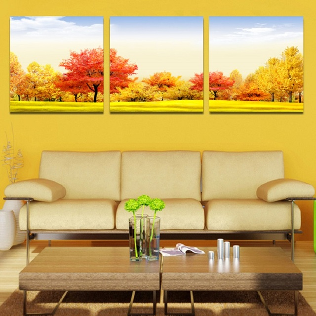3 Pieces canvas oil painting with frame or no framed Wall art ...