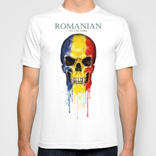 2017 Hot Sale Fashion Romania Skull flag New Mens T-shirts Short Sleeve Tshirt Cotton t shirts Man Clothing