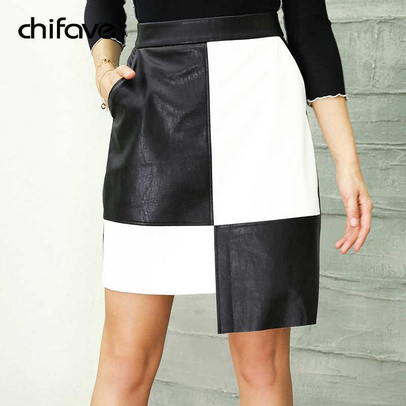 f4474aec9c Casual Leather Skirt Women High Waist Irregular Black White Patchwork Skirt  Autumn Winter Female Plus Size