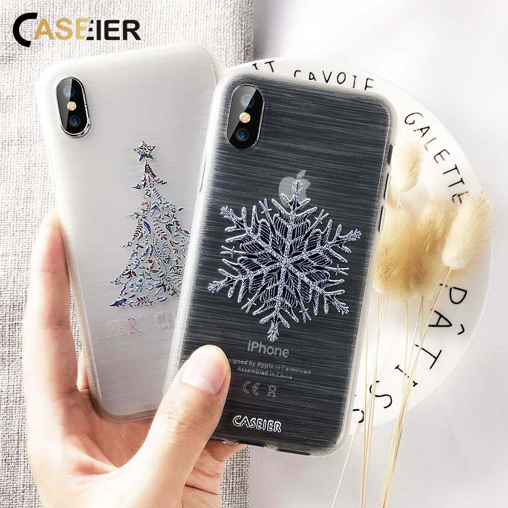CASEIER New Year Phone Case For iPhone 7 8 6s 6 Plus Merry Christmas Back Cover