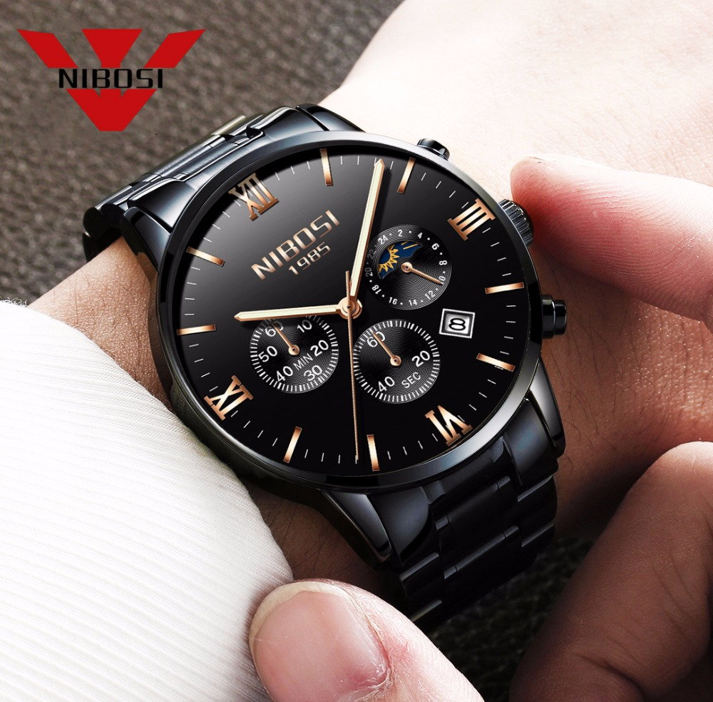 NIBOSI Stainless Steel Band Watch Men Watches Luxury Famous Brand Men's Fashion Casual Dress Military Army Quartz Wristwatch weide fashion casual quartz watch men sport watches famous luxury brand stainless steel military army relogio masculino wh3305