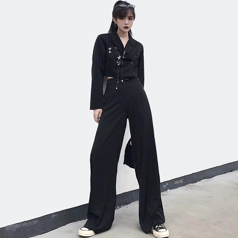 Casual Pants Suits 2019 Fashion Streetwear Black Suit Women Chain Cropped Blazer Pants Suit Set Ladies Pantsuit tailleur femme