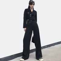 Casual Pants Suits 2019 Fashion Streetwear Black Suit Women Chain Cropped Blazer Pants Suit Set Ladies Pantsuit tailleur femme