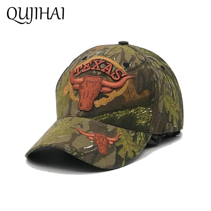 c4cf1f67ba6 QUJIHAI TEXAS Berretto da baseball Cowboy Snapback Caps Uomini Soldato  Cappello Camouflage Army Green Gorras Bone Casquette