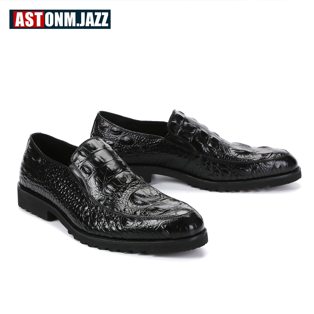 Mens Wedding Dress Shoes Leisure Casual Crocodile Leather Oxfords Shoes For Men Business Brogues Shoes Party Penny Loafers New