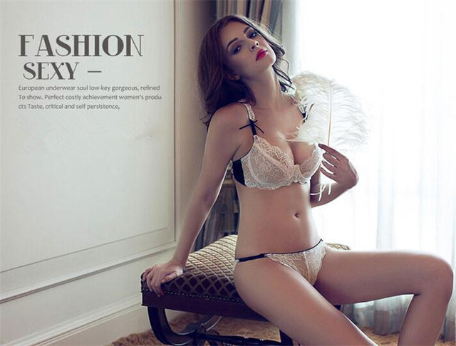 0bbe8494fe8 New White Black Women s Ultrathin Lace Sexy Lingerie Bra Set Brief Suit 36C  36B 38C 38B 40C 40D+ Free Shipping 12002379
