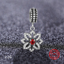 925 sterling silver bead flower pendant for Pandora bracelet necklace womens jewelry DIY production accessories wholesale