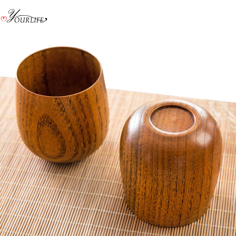 OYOURLIFE Japanese Style Natural Wooden Cup Reusable Environmental Protection Tea Coffee Milk Wine Cup Heat Insulation Water Cup 3