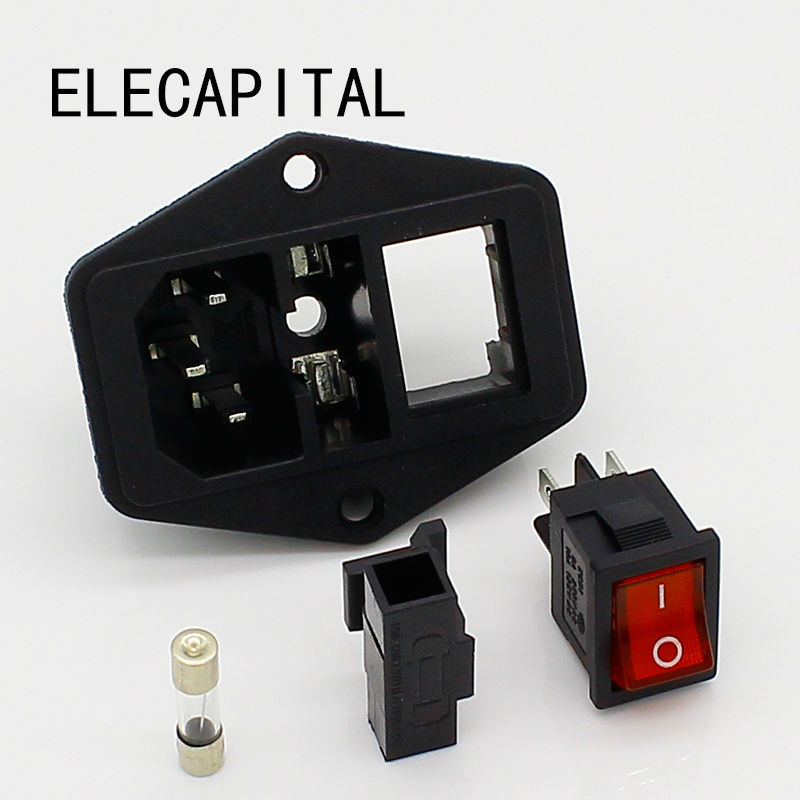 Power Rocker Switch IEC 3 Pin 320 C14 Inlet Power Sockets Switch Connector Plug 10A 250V стоимость