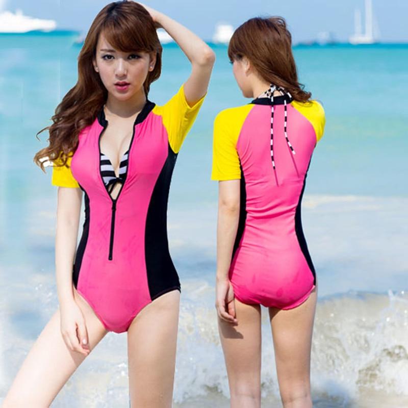 680b945c455 New Sexy Women Surf Rashguard Sports Suit Diving Wetsuits Rash Guard Zip  Bodysuit short Sleeve Swimsuit One-Piece Suits Swimwear