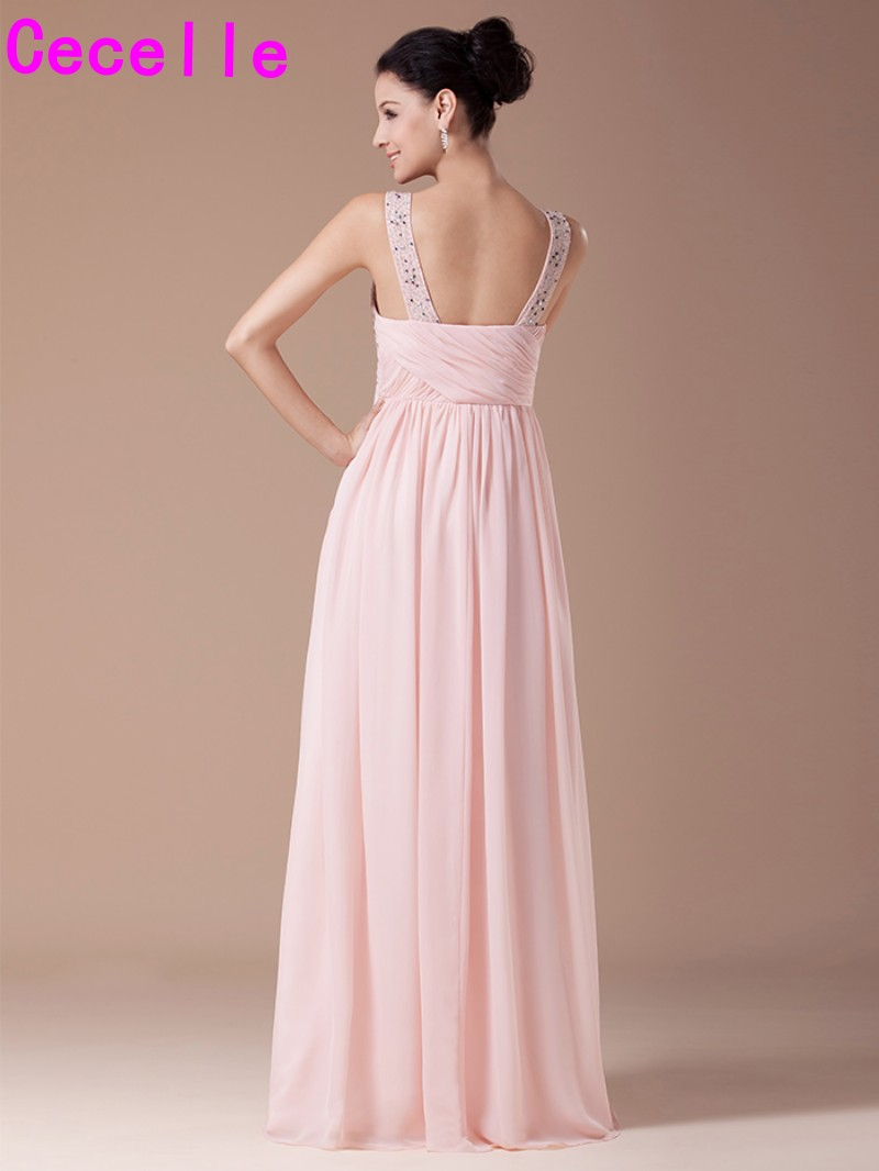 Blushing chiffon long bridesmaid dresses with straps beaded blushing chiffon long bridesmaid dresses with straps beaded crystals formal wedding party dress pink bridesmaid robes custom ombrellifo Images