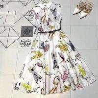 Длинное платье без рукавов для женщин модное платье с принтом 2019 весеннее Новое офисное женское платье