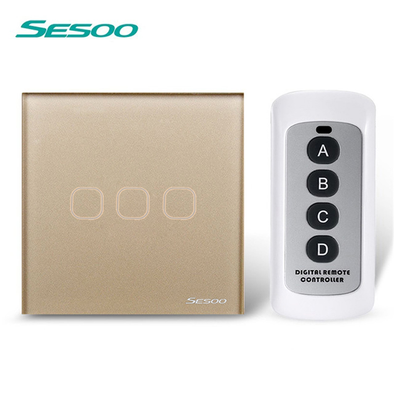 EU/UK Standard SESOO 3 Gang 1 Way Remote Control Switches,Wireless Remote Control Touch Switch, White Crystal Glass Switch Panel eu uk standard sesoo remote control switch 3 gang 1 way wireless remote control wall touch switch light switch for smart home