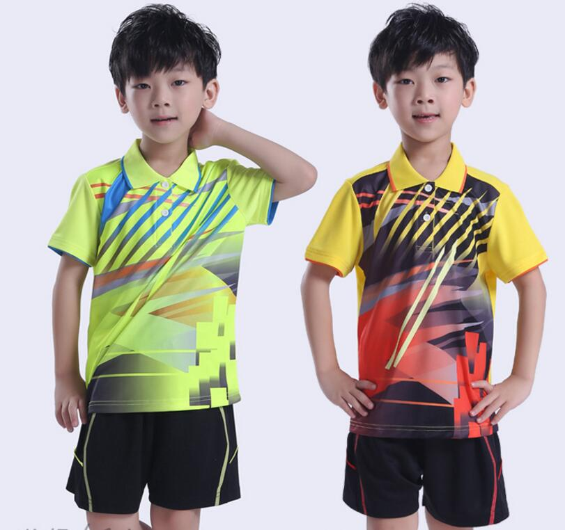New 2018 kids badminton sportwear shirts,Quick Dry Table Tennis Polo jersey Breathable Boys / Girls Tennis Shirt + Sports shorts