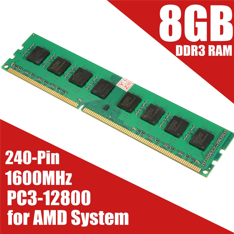 Brand New 8GB DDR3 Memory RAM PC3-12800 1600MHz Desktop PC DIMM 240 Pins Non-EC For AMD System Hight Quality brand new sealed desktop ddr3 ram1x8gb lo dimm1600mhz pc3 12800 memory high compatible motherboard for pc computer free shipping