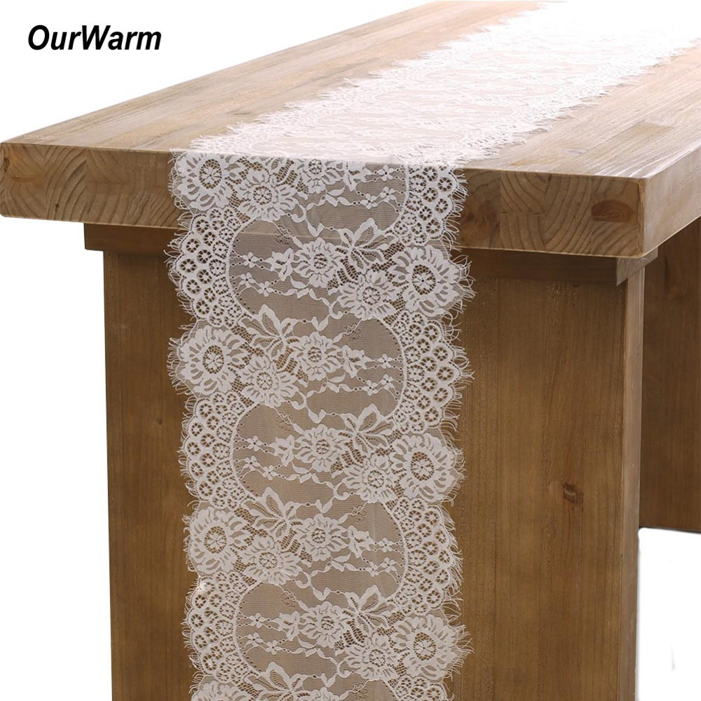 OurWarm Wedding Decoration White Lace Table Runner Baby Shower Boho Wedding Table Decoration Festive Party Supplies 35X300CM in Party DIY Decorations from Home Garden