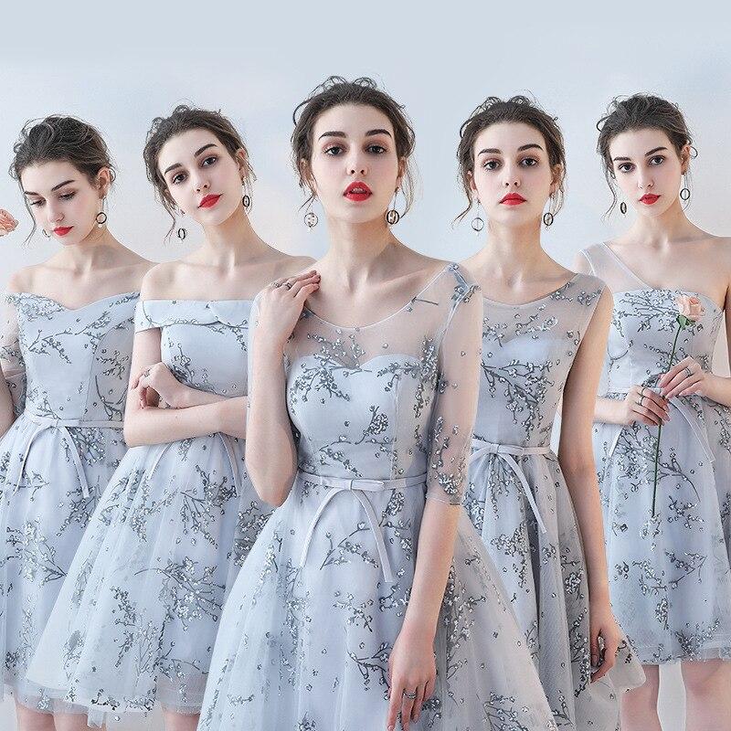 2019 personnalisé robe de demoiselle d'honneur femme banquet long paragraphe épaule broderie mariage rose slim robe de demoiselle d'honneur a-ligne