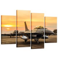 4 Panel Canvas Prints F 16 Fighting Falcon Fighter Jet on Sunset Wall Art Military Airplane Giclee Canvas Picture Drop shipping