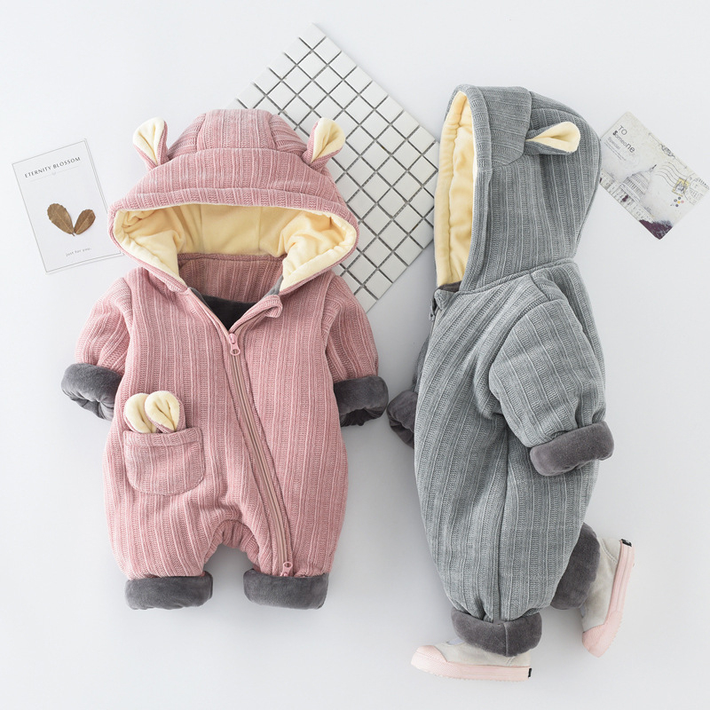 Fashion Autumn & Winter Newborn Infant Baby Clothes Fleece Jumpsuit Boys Girls Romper Hooded Jumpsuit Thicken Clothing