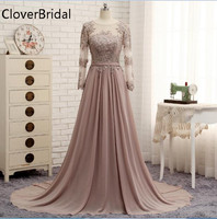 Long Sleeves Beaded Evening Dresses Party Elegant Gowns Champagne Chiffon A Line Vestidos De Festa Vestido