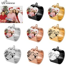 Personalized Custom Ring Female Stainless Steel Engrave Name Photo Heart Rings For Women Men Engagement Wedding Jewelry