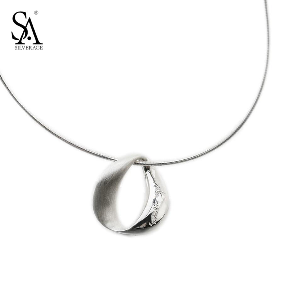 SA SILVERAGE Necklace Silver Choker Circle Pendant Real Pure 925 Sterling Silver Necklace For Women Accessory Fine Jewelry elegant 925 pure silver necklace for women silver