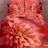 3d Peinture À L'huile Rouge Fleurs Dahlia Literie Queen Size 100% Coton Tissu Lit Feuilles 3d Housse de Couette Literie Chambre ensembles