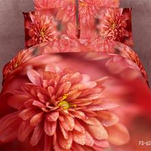 3d Oil Painting Red Flowers Dahlia Bedding Sets Queen Size 100% Cotton Fabric Bed Sheets 3d Duvet Cover Bedclothes Bedroom Sets