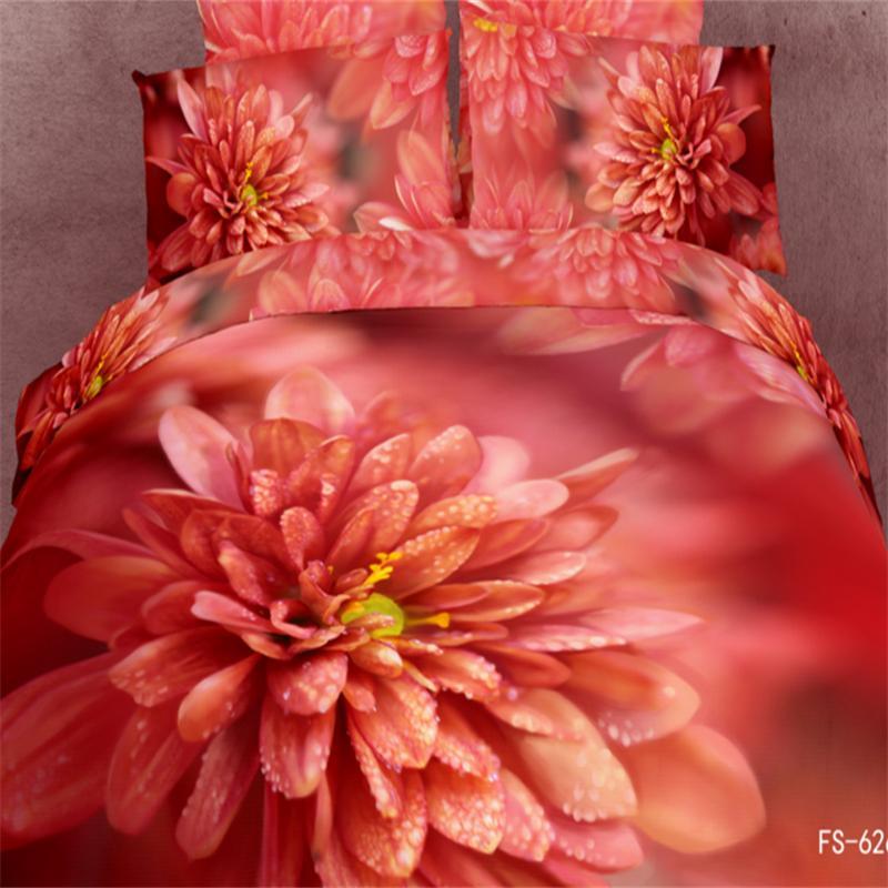 3d peinture à l'huile fleurs rouges Dahlia ensembles de literie reine taille 100% coton tissu draps de lit 3d housse de couette literie ensembles de chambre