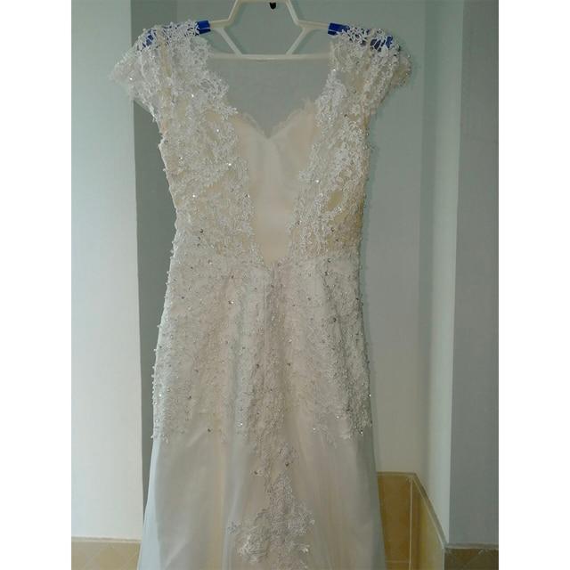 Fansmile Illusion Vestido De Noiva White Backless Lace Mermaid Wedding Dress 2019 Short Sleeve Wedding Gown Bride Dress FSM-453M 5