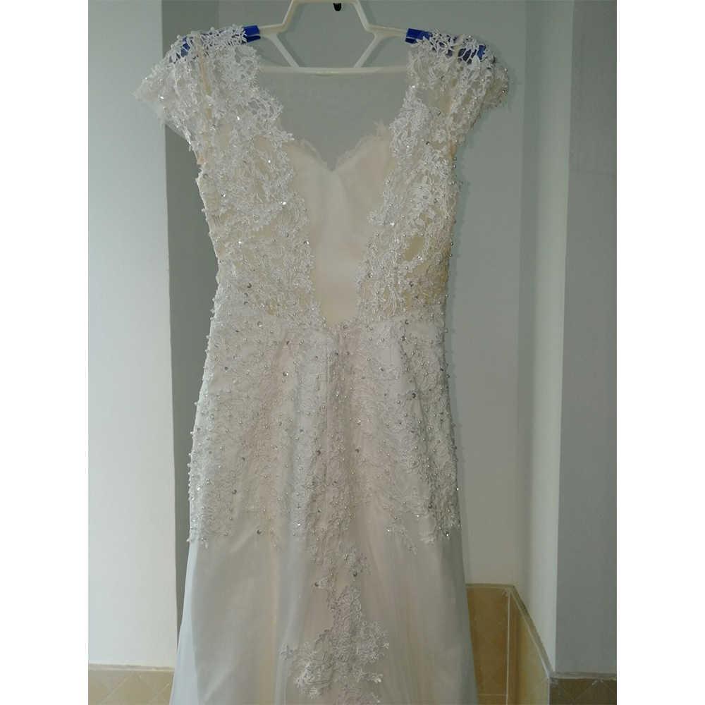 Женское платье с открытой спиной Fansmile, белое кружевное свадебное платье с юбкой годе и короткими рукавами, модель FSM-453M, 2019