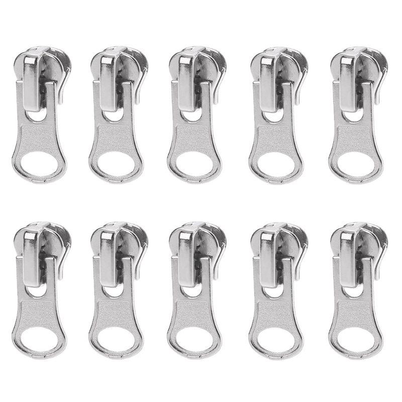 10Pcs/Set 11mm Universal Metal Glitter Steel Color DIY Fix Zipper Puller Repair Kit Replacement Slider Sewing Tailor Tools For B