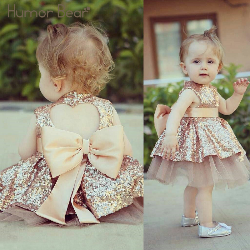 Humor Bear Baby Girl Dress Party Wear Tutu Tulle Infant Christening Gowns Childrens Wedding Dresses Kids Clothes Size 6M-24M