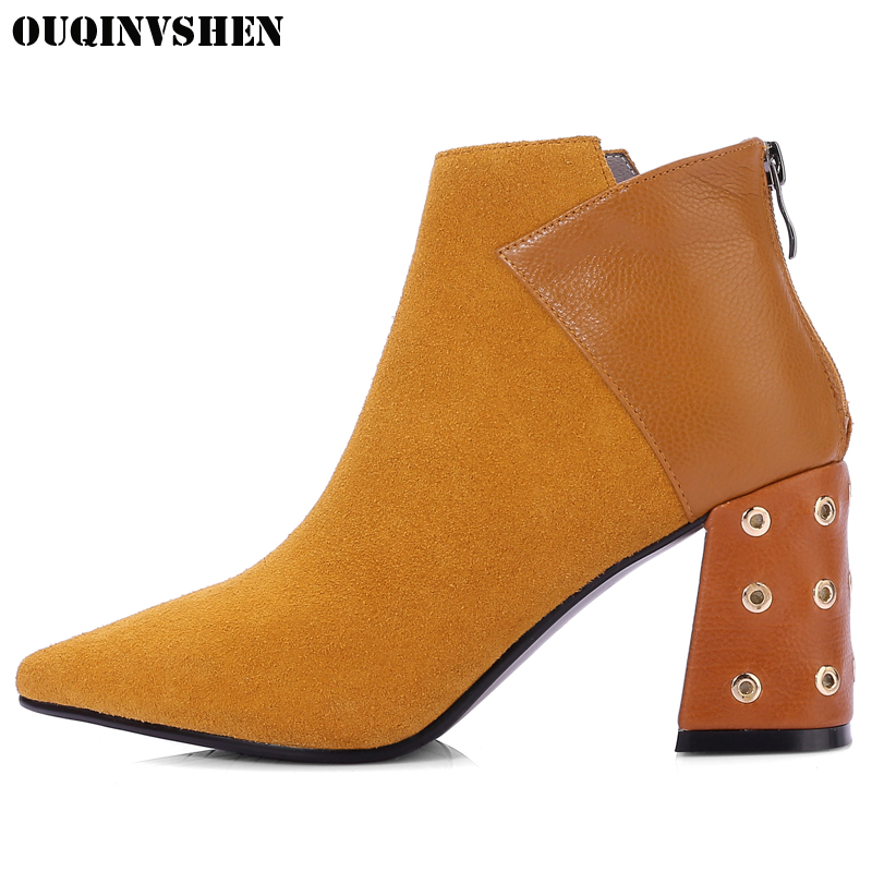 OUQINVSHEN Pointed Toe Square heel Women's Boots Casual Fashion Zipper Women Ankle Boots Winter Rivet High Heels Ladies Boots camel camel boots cowhide thick heel rivet velvet fashion pointed toe boots vintage casual thermal boots