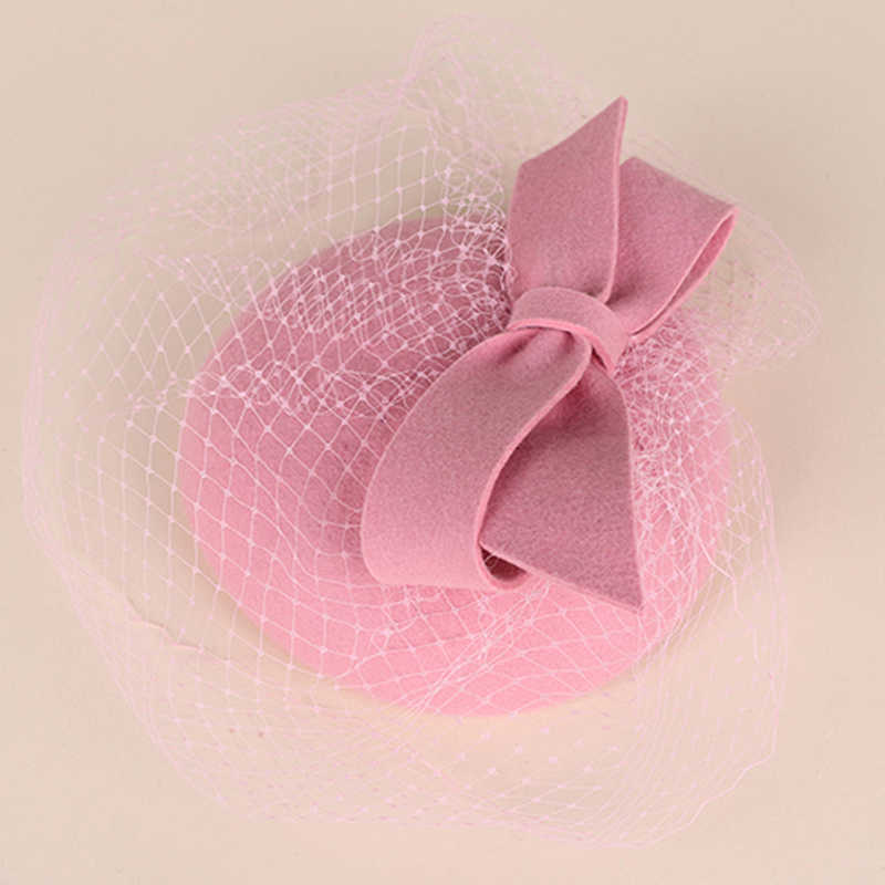 FS Fascinators 100% Wool Felt Cocktail Hat For Women Elegant Pink Ladies Wedding Dress Tea Party Pillbox Wool Pillbox Fedoras