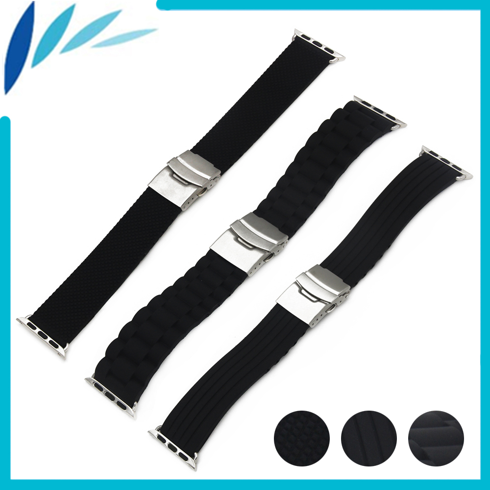 Silicone Rubber Watchband for iWatch Apple Watch / Sport / Edittion 38mm 42mm Strap Band Loop Belt Wrist Bracelet Black + Tool silicone rubber watch band 20mm 22mm 24mm for jacques lemans watchband strap wrist loop belt bracelet black men women tool