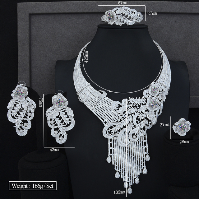 Luxury Peacock Tail Wedding Engagement Stage Occasion Necklace Bracelet Earring Ring Jewelry Sets High Quality Cubic Zirconia 5