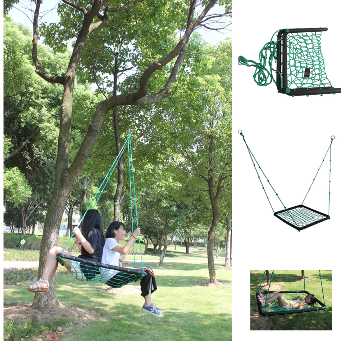 Garden Swings For Adults: Rope Squre Nest Swing Indoor And Outdoor Swings For