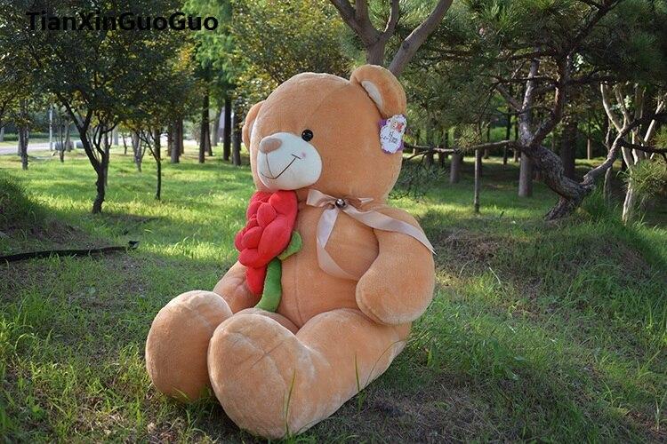 En peluche garnitures jouet grand 120 cm câlin rouge rose fleur lumière brun ours en peluche en peluche peluche poupée coussin cadeau d'anniversaire s0622