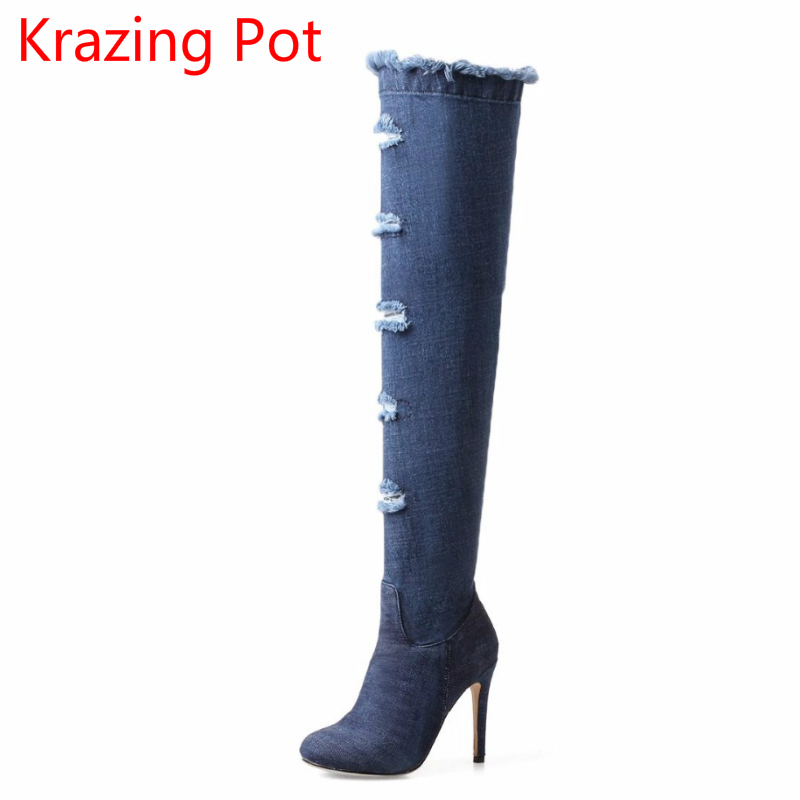 2018 New Arrival Fashion Round Toe Stiletto Heel Large Size High Heel Winter Boots Keep Warm Superstar Over-the-knee Boots L9f2 стоимость