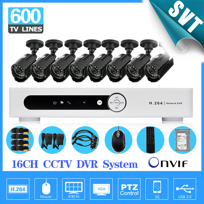 Home 16CH CCTV DVR system with 8ch 600tvl Day Night waterproof video surveillance systems 16 channel security camera kit 1tb hdd  16ch video camera recorder dvr with 16pcs outdoor waterproof ir day night vision surveillance camera 16ch security sytem dvr kit