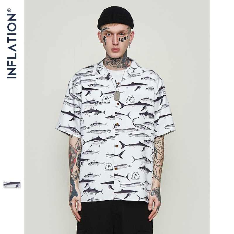 f8d70c6bf INFLATION Mens Hawaiian Shirt Male Casual Fish Graphic Printed Beach Shirts  Short Sleeve Streetwear Hip hop